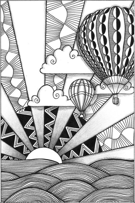 Zia 3 Of 4 Hot Air Balloons Awesome Way Of Teaching Foreground Middleground And Background Too Jlm Zentangle Art Tangle Art Zentangle Patterns