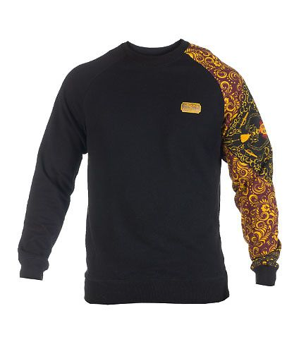 CROOKS AND CASTLES Crew sweatshirt Inner terry lining Long sleeves Abstract  print on one sleeve Embroidered