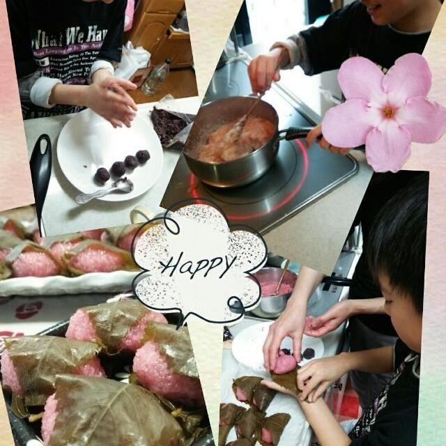 明日から新学期 昨日慌ててお花見に行き、今日は朝から三男と一緒に桜餅を作りました - 12件のもぐもぐ - 桜餅   ~春休み最後のお手伝い~ by mocchiy