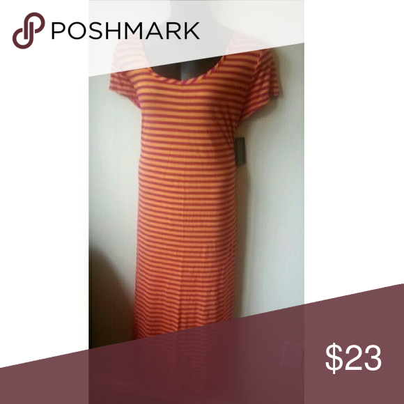3X Just Love Maxi Dress Maxi Dress from Just Love in a size 3X. This dress runs small, fits more like a 2X. Striped pattern in a pink and orange tones. Rounded neckline. Short sleeves. New with tags. Just Love  Dresses Maxi