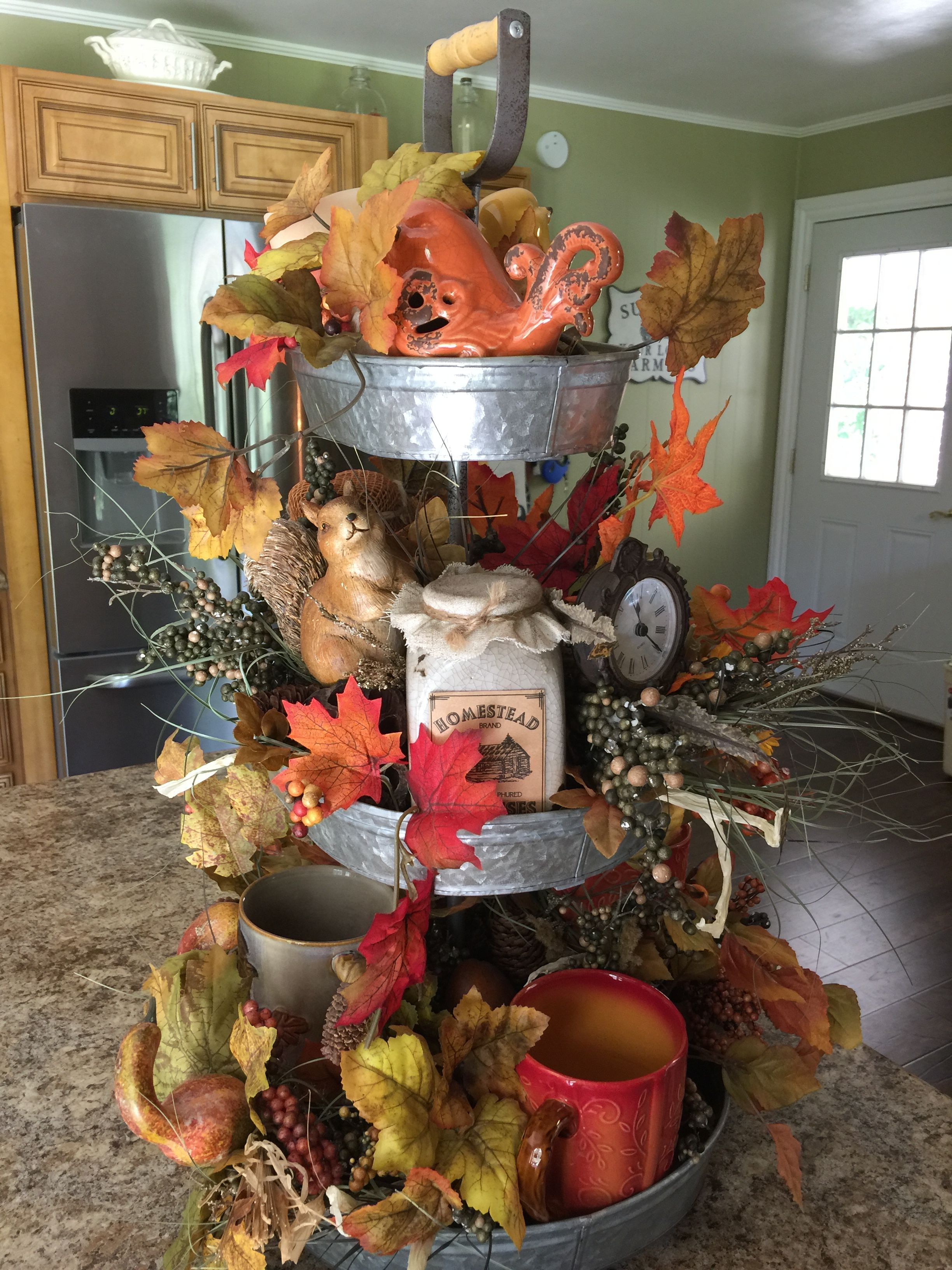 Fall 3 Tier Tray Metal Tray Decor Tiered Tray Tiered Tray Decor