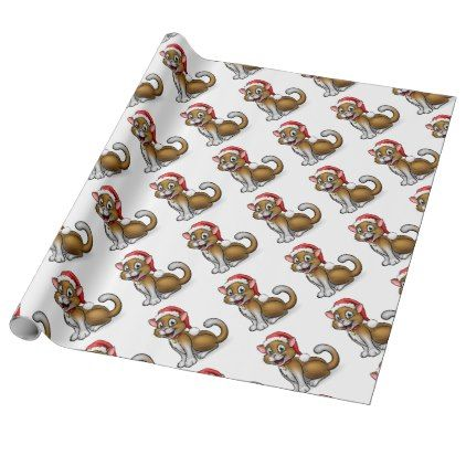 Christmas Santa Hat Cat Wrapping Paper