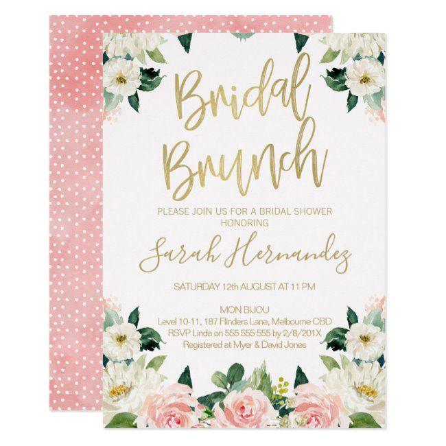 Pink Floral Bridal Brunch Bridal Shower Invitation | Zazzle.com