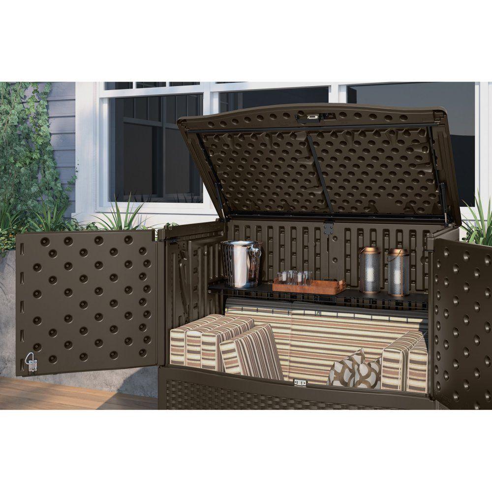 suncast backyard oasis storage and entertaining station with shelf