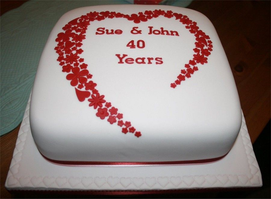 Ruby Wedding Anniversary Cake Ideas: 40th Anniversary Ruby Red Cake With Heart