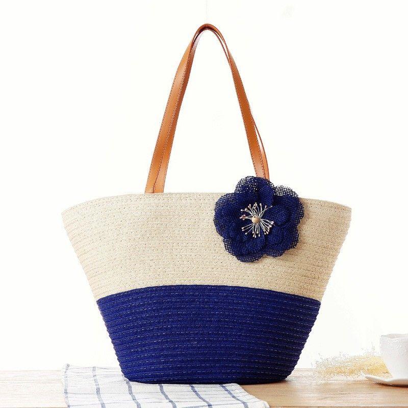 Royal Blue Beach Tote Flower Summer Simple Bag For Honeymoon Shop