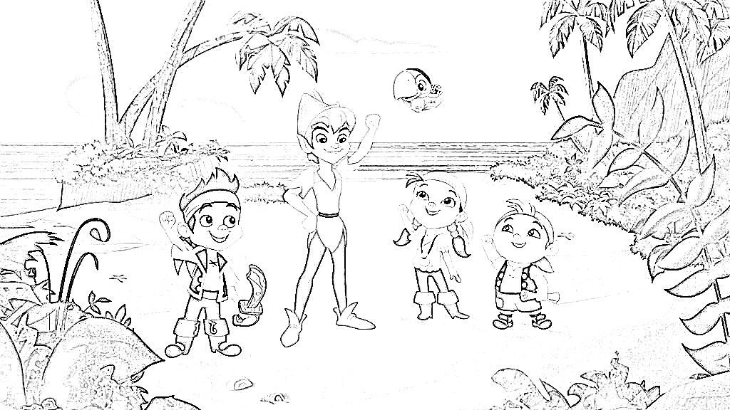 peter pan jake and the neverland pirates colouring pages