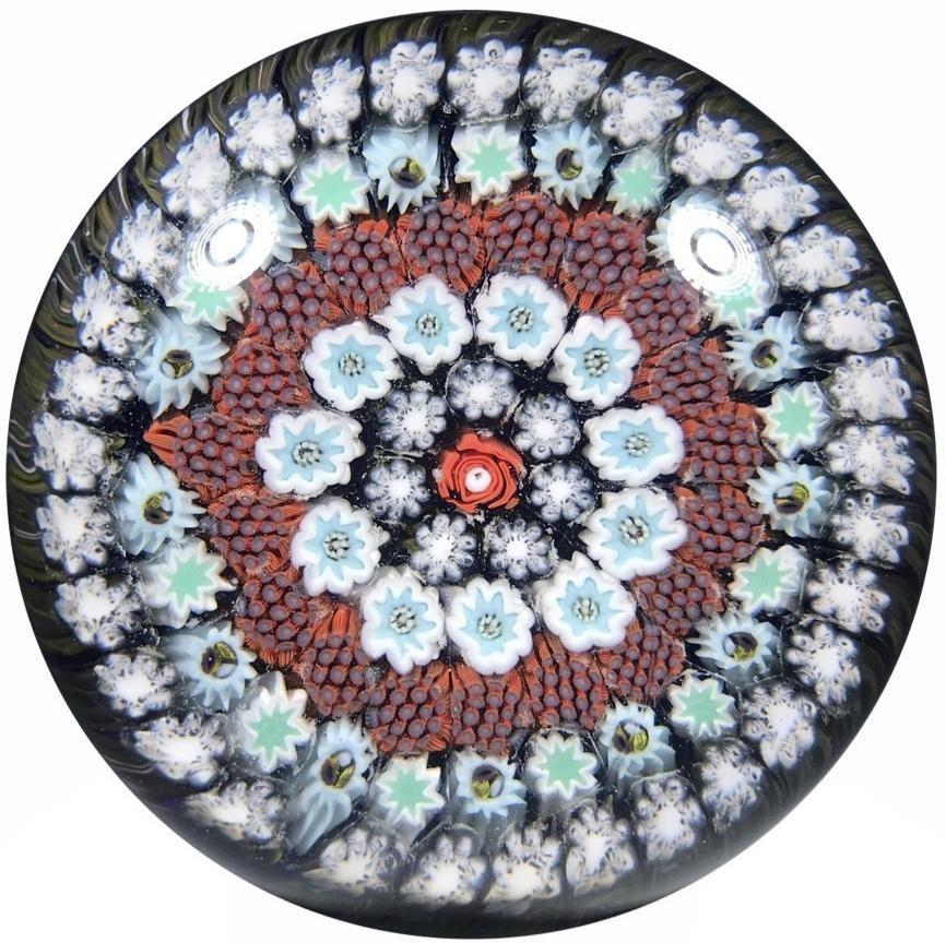 Matt Fimiano 2018 Art Glass Paperweight Concentric Complex Millefiori on Transparent Blue Ground