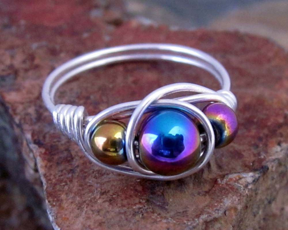 d969819927a94 Rainbow Hematite Ring - 925 Sterling Silver Ring, Magentic Jewelry ...