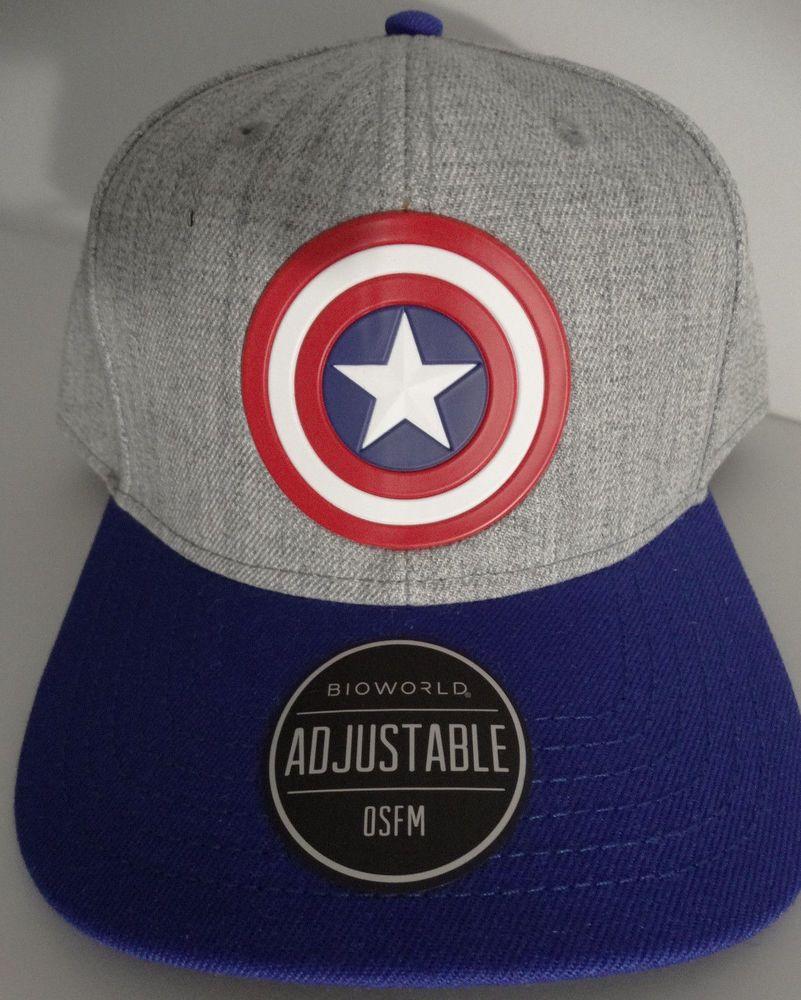 930b18efb3b89 Captain America Logo Marvel Comics Curved Snap Back Hat Nwt  Marvel   SnapBack