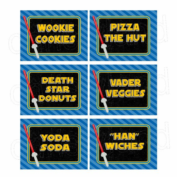 star wars party food cards