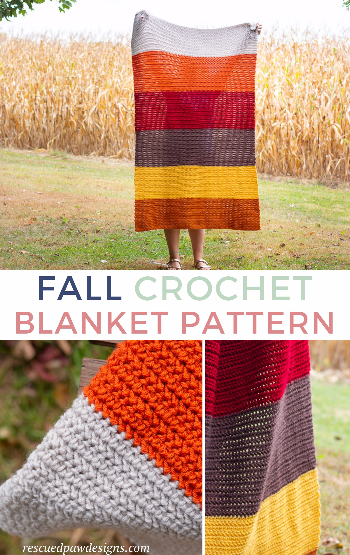 Photo of Fall Crochet Blanket Pattern using the HHDC Stitch