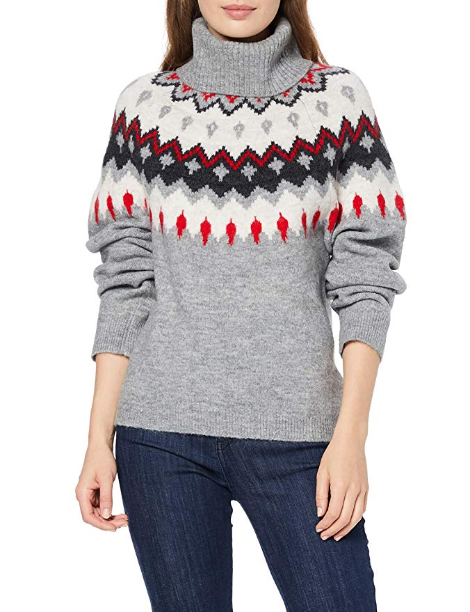 Marca find Jersey de Navidad con Cuello Vuelto Mujer
