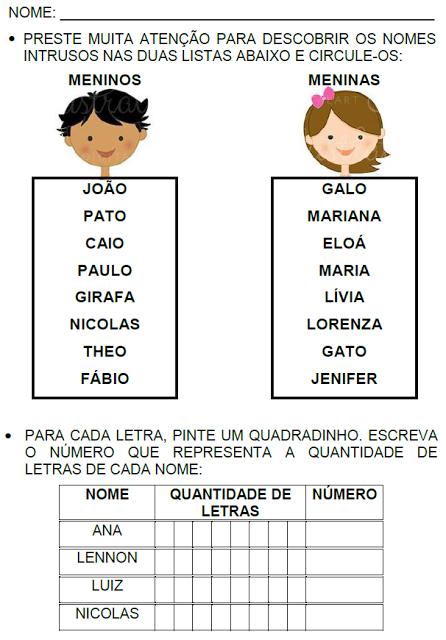 Atividades com os nomes dos alunos educação infantil