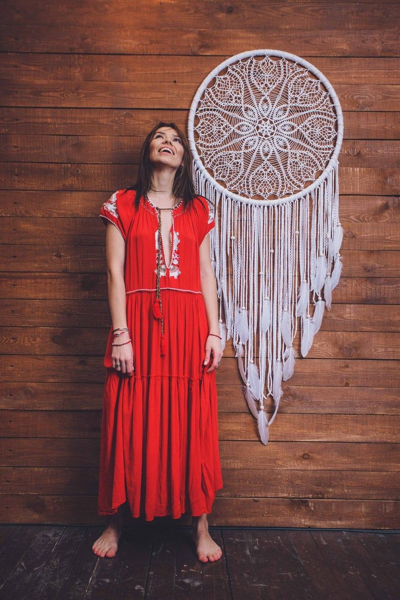 Would this white crochet dream catcher melt your heart? Absolutely. This is a beautiful handcrafted wall art piece that will bring peace and serenity to your bedroom. Consider this extra large dream catcher, if are looking for a gift for a boho lover. Hygge wall art for a dream bohemian home. Pure beauty.  #girlsroom #daughtergift #bohodreamcather #bohemiandecor #wallartgift