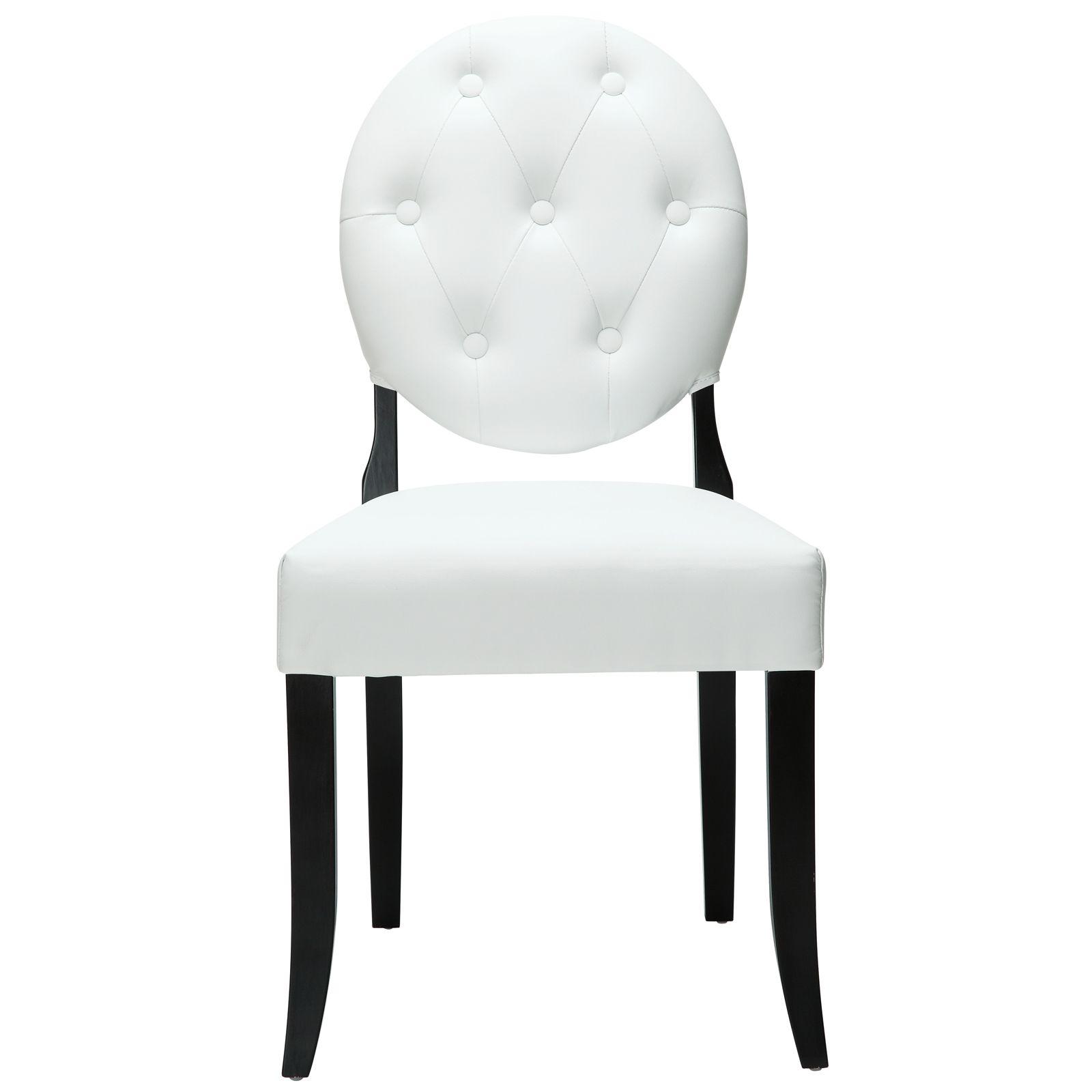 Modway Buttoned White Vinyl Black Legs Ghost Chair (Black
