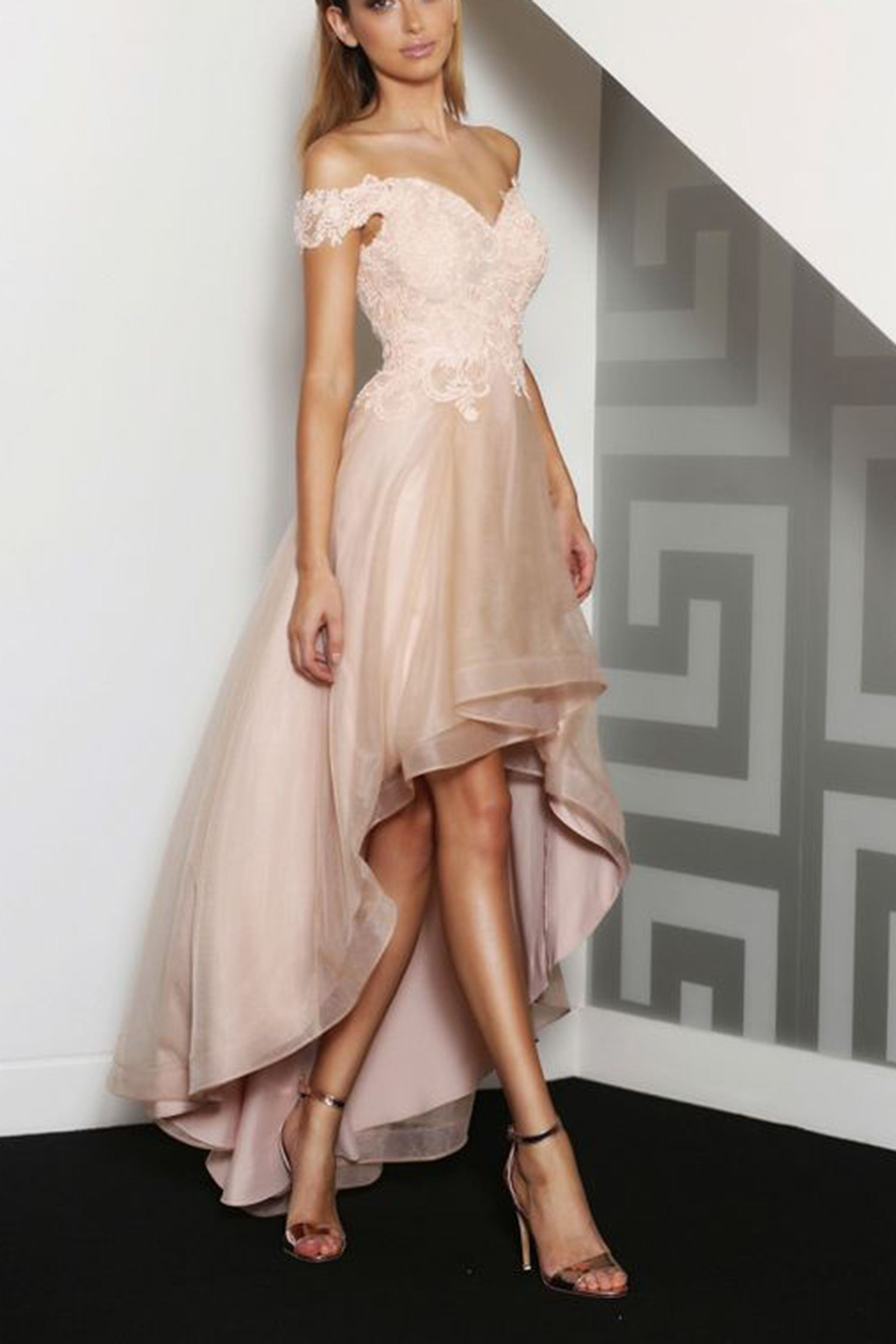 Champagne tulle lace offshoulder highlow long prom dressesevening