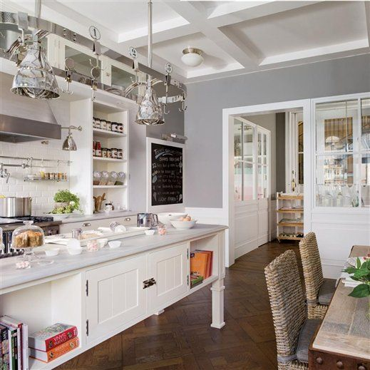 Rustic White Kitchen  White and grey kitchen refined rustic