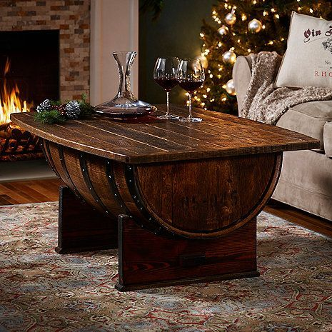 Handmade Vintage Oak Whiskey Barrel Coffee Table Whiskey barrel