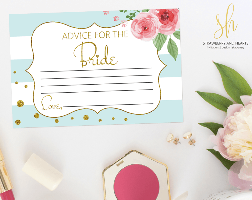 Get the party started with fun 'Advice for the bride' game! This game is the perfect ice breaker for any bridal shower or bachelorette party. #printable #bridalshower #bridalshowergames #bridalgames #bridalshowerstationery #bridalstationery #bachelorette #bachelorettegames #bachelorettepartygames #SHdesigns