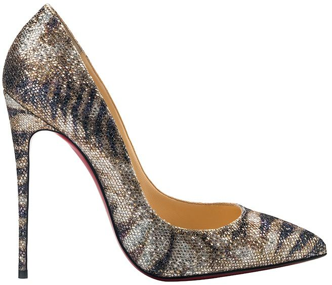 christian louboutin pigalle follies glitter red sole pump gold/platine
