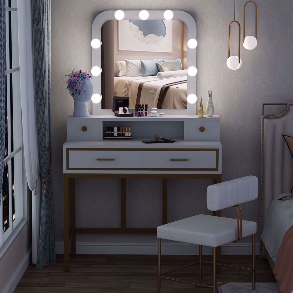 Large Vanity Table with Square Lighted Mirror, Makeup
