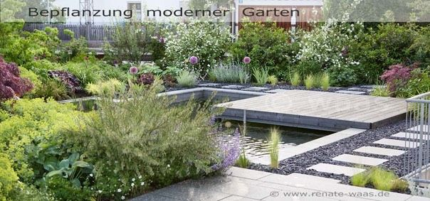 Attraktiv Moderner Garten, Graeser, Bepflanzung, Stauden, Staudenbeete,