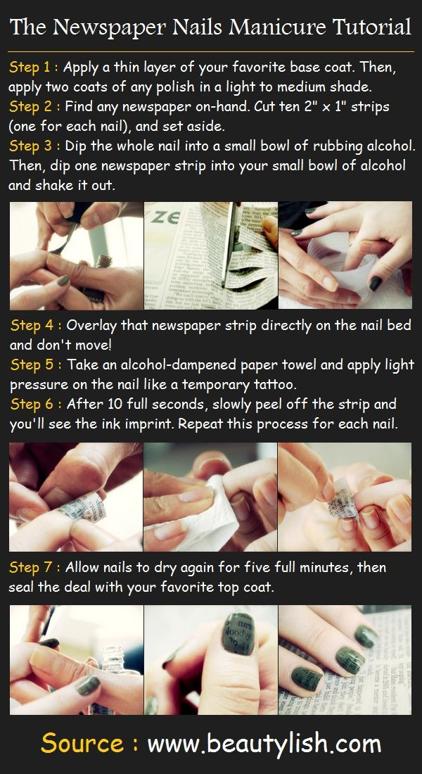 The Newspaper Nails Manicure Tutorial Diy Nail Art