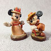 Italy Anri Miniature Hand Carved Wood Mickey Mouse & Minnie Mouse Pair