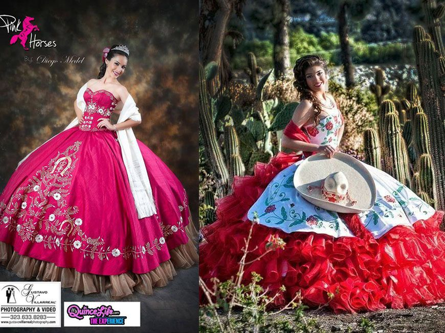 hot pink and red quinceanera dress | Mexican theme ideas ...