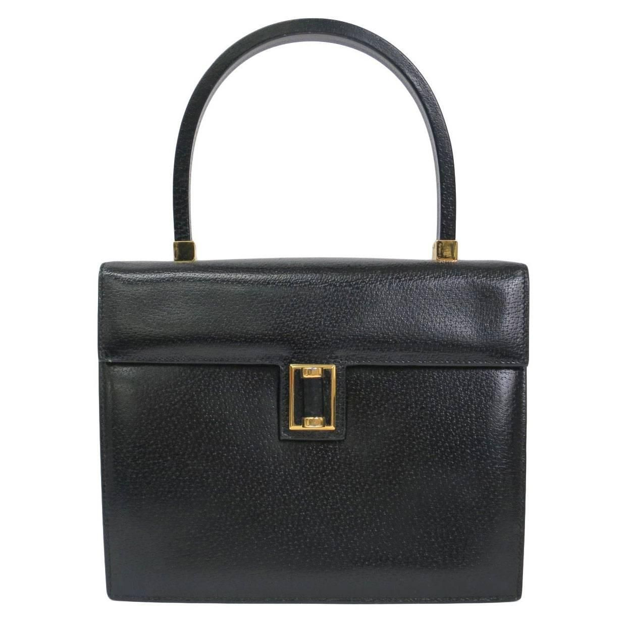 Gucci Black Ostrich Evening Kelly Style Top Handle Satchel Shoulder Bag 4MCotm
