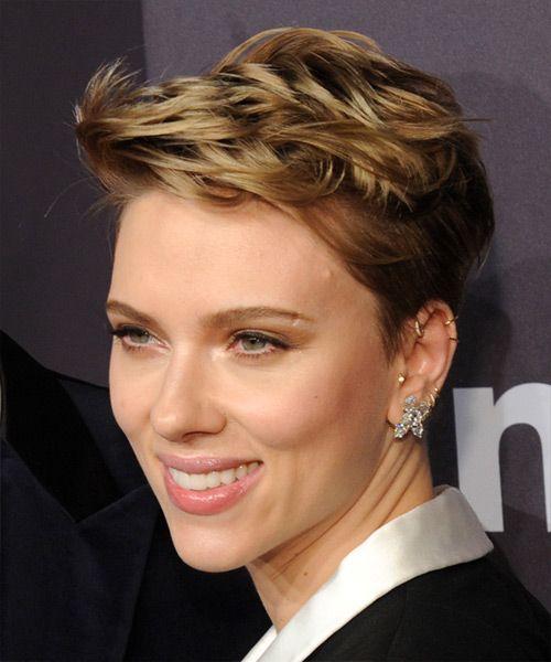 Awesome Scarlett Johansson Chic Short Straight Pixie Hairstyle Dark Hairstyles For Women Draintrainus