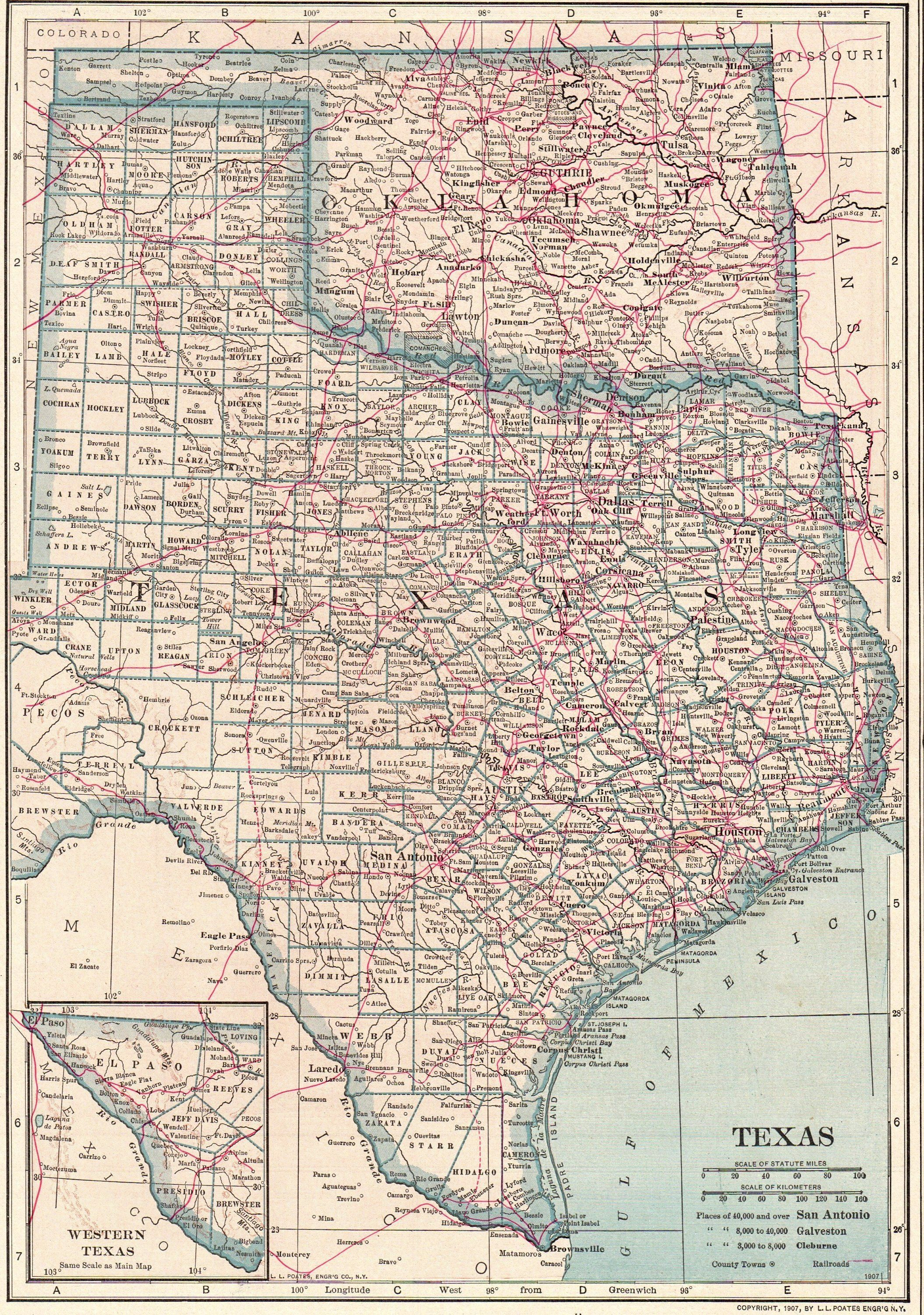 1914 Antique Texas Map Oklahoma Map State Map Of Oklahoma Print
