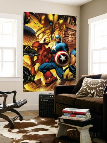 New Avengers No.6 Cover: Iron Man and Captain America Prints by Bryan Hitch at AllPosters.com | 48x72 | $99.99