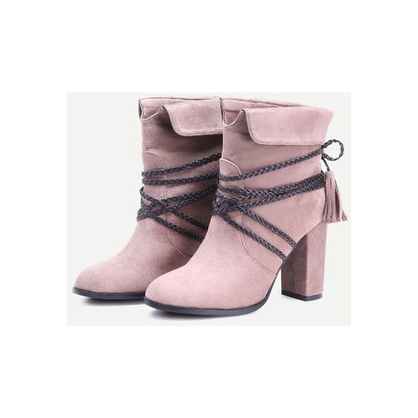 Brown Braided Strap Detail Fold Over Boots ($49) Liked On