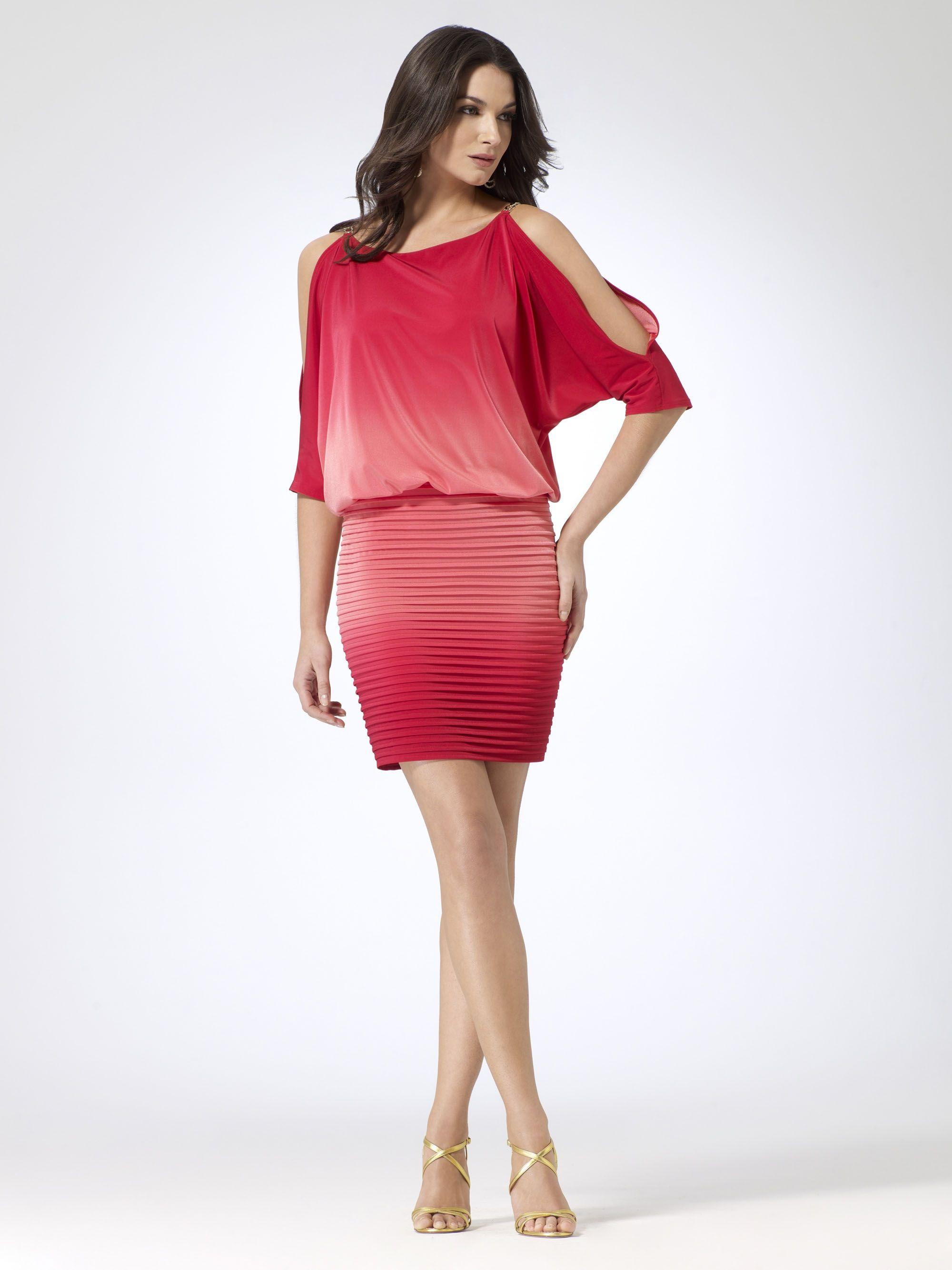 Cocktail dresses red ombre blouson dress caché fashion