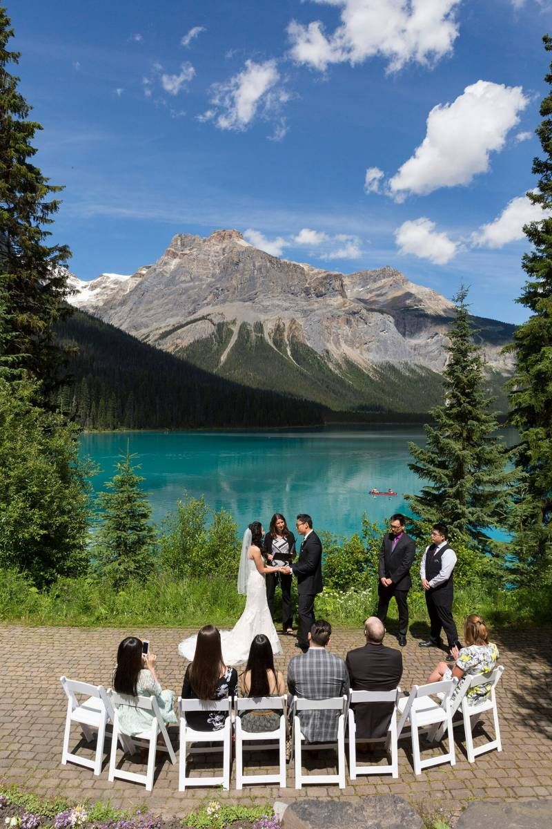 A Beautiful Elopement At The View Point Of Emerald Lake Rocky Mountains