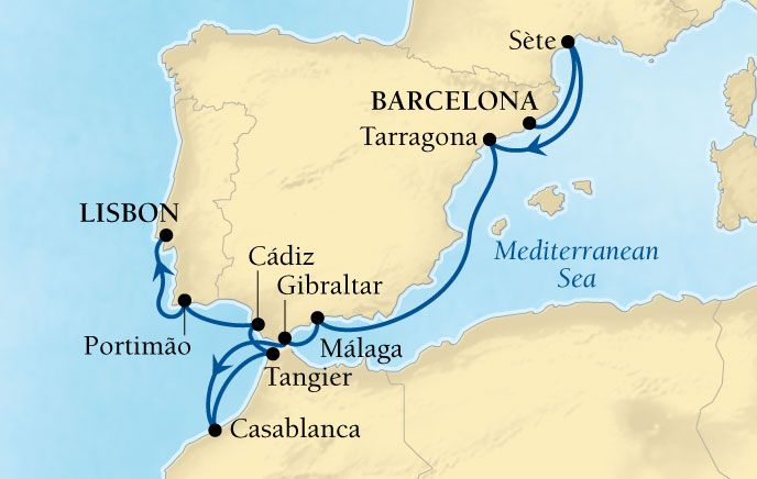 Map Of Spain Gibraltar And Morocco.Seabourn 10 Day Cruise Including Spain Gibraltar Morocco And
