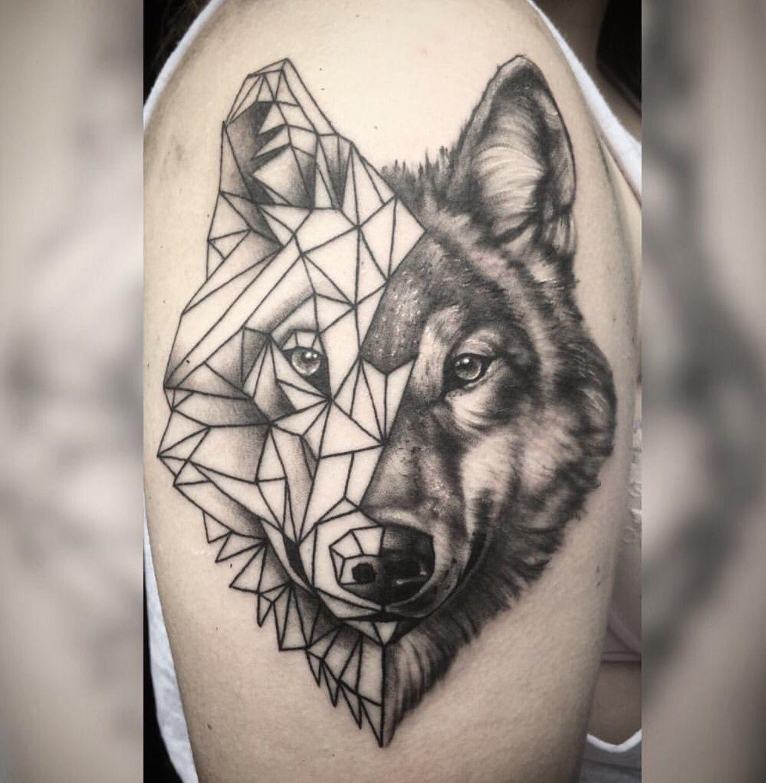 Half Geometric Wolf Tattoo
