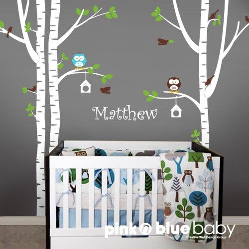 Superieur Birch Tree, Owl, Bird And Custom Name   Kids Baby Nursery Wall Decal