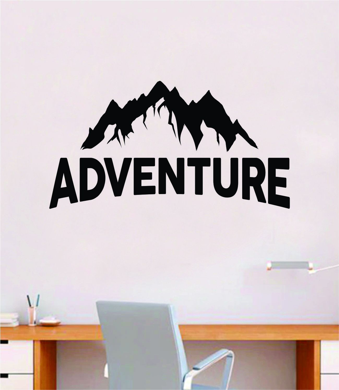 Adventure Mountains V4 Decal Sticker Quote Wall Vinyl Art Wall Bedroom Room Home Decor Inspirational Teen Baby Nursery Girls Playroom School Travel Hike Camp - black