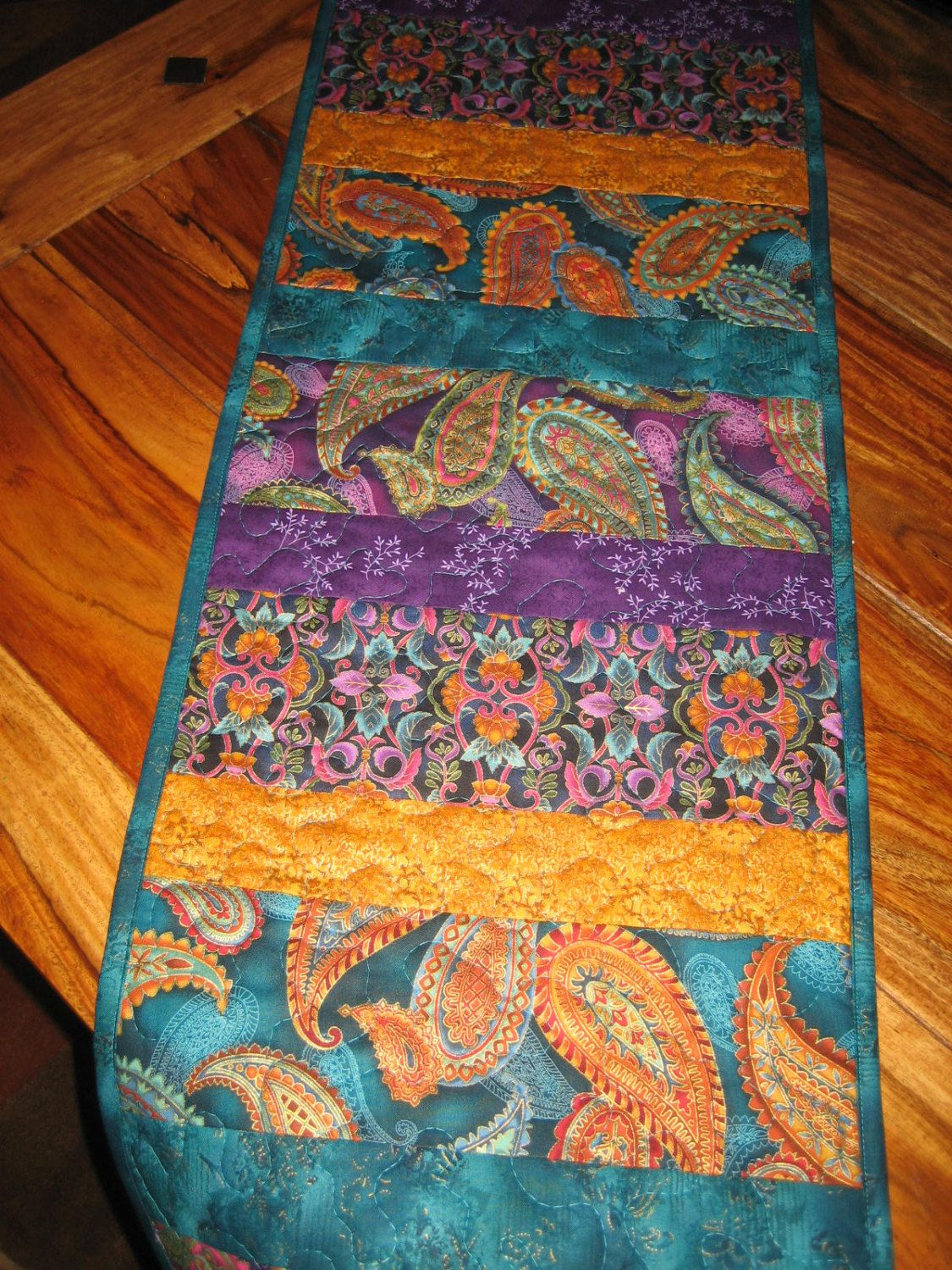 Quilted Table Runner Paisley Jewel Tone Prints In Purple