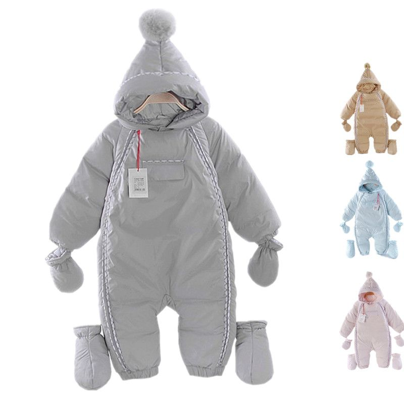 b1fb9cf63bbe New Winter Baby Rompers Baby Girl Thermal Duck Down Winter Snowsuit ...