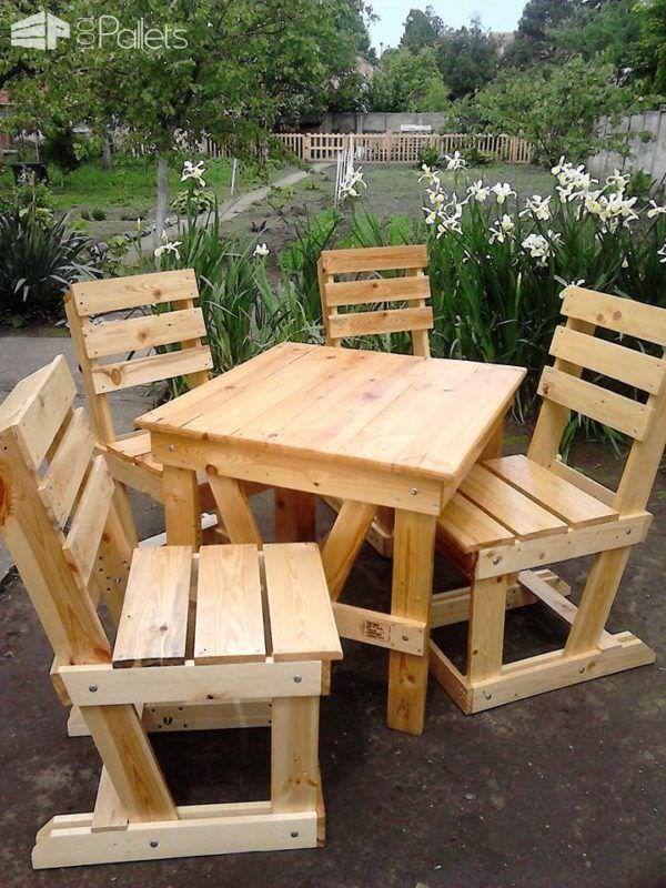 Lovely Pallet Wood Garden Dining Set Moveis De Paletes Cadeiras De Paletes Projetos Com Paletes De Madeira