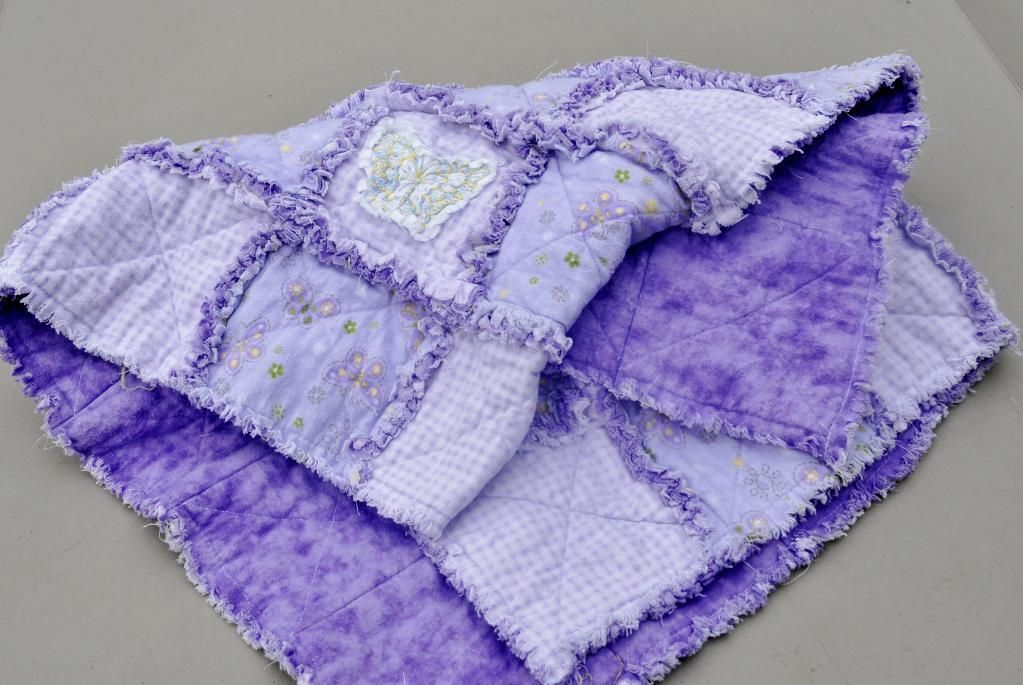 Purple Butterfly Baby Rag Quilt - via @Craftsy