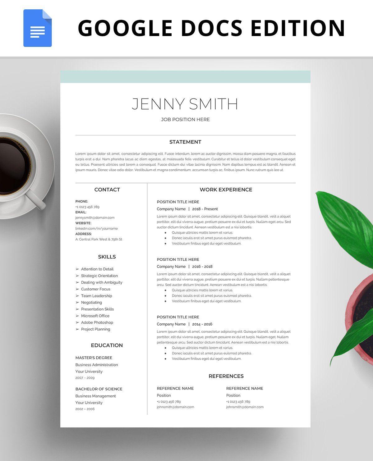 Resume Template Cv Google Docs Resume Template Resume Templates Resume Template Professional