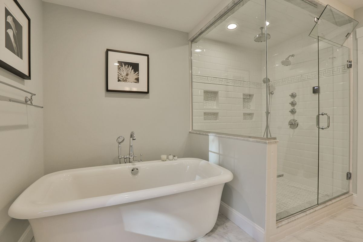 Large soaking tub custom steam shower with ming green