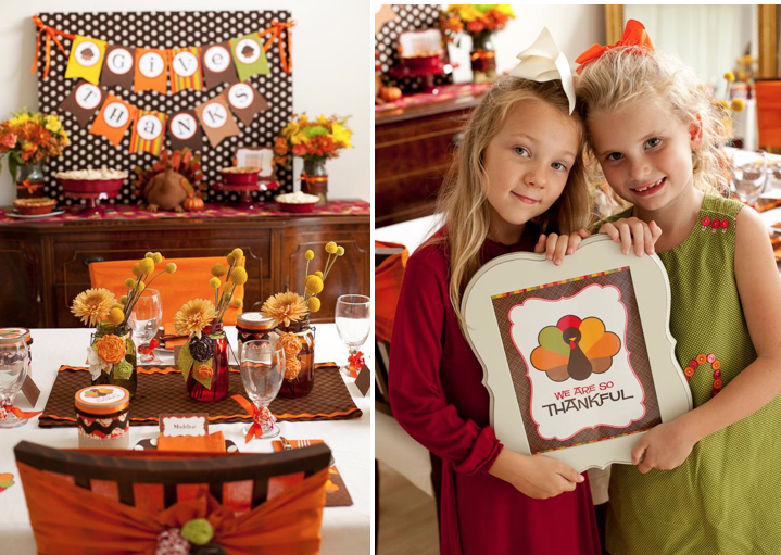 CUTE Thanksgiving Table! Great ideas for a Thanksgiving party for kids!