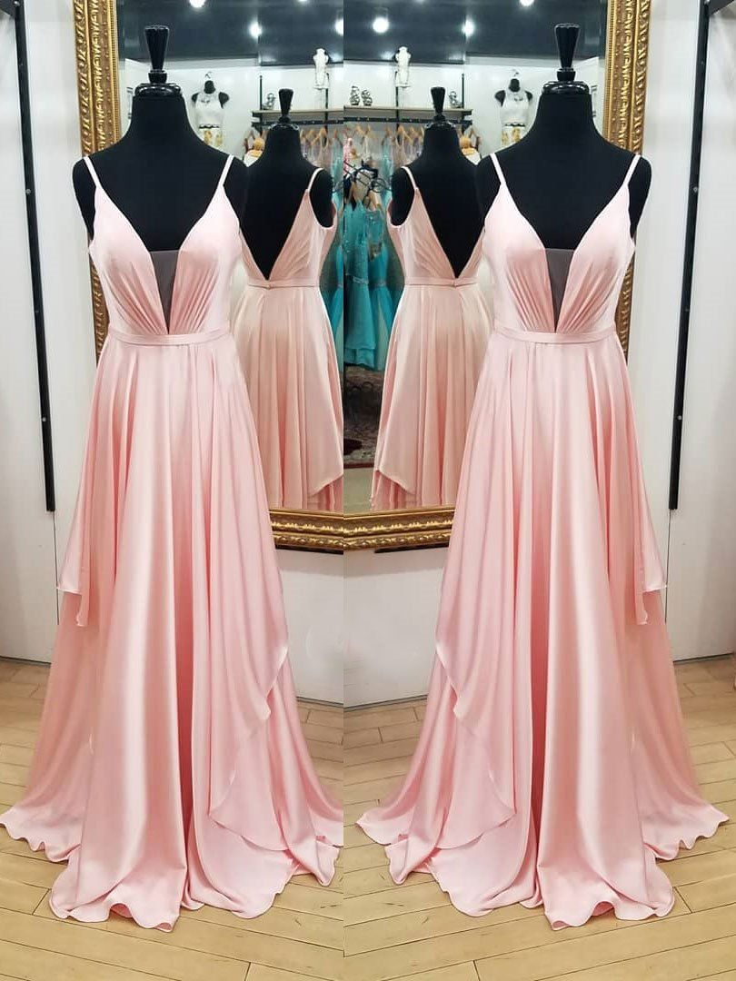 A line spaghetti strap pink prom dresses backless evening ball gowns