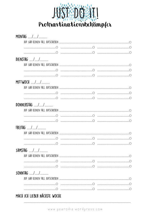 Prokrastinationsbekämpfer – Free Print | Filofax, Kalender und ...